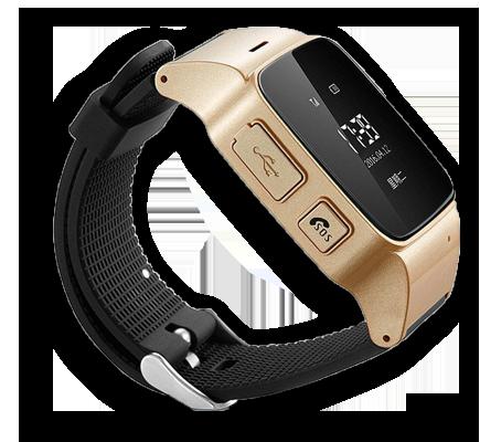 Детские умные часы Smart Baby Watch D99 золотого цвета с левой стороны