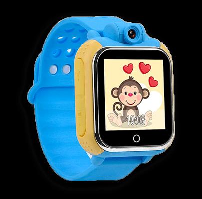 Детские умные часы Smart Baby Watch D10 голубого цвета с левой стороны
