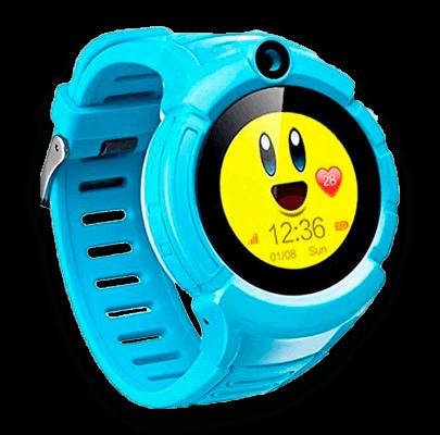 Детские умные часы Smart Baby Watch i8 голубого цвета с левой стороны