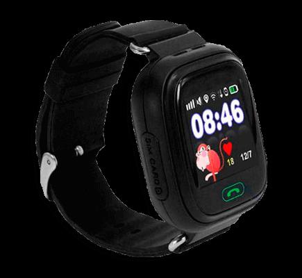 Детские умные часы Smart Baby Watch iQ80 черного цвета с левой стороны