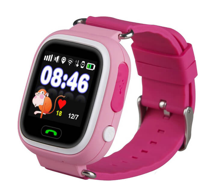 Смарт часы для детей Smart Baby Watch Q80 розового цвета с правой стороны