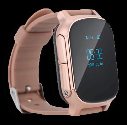 Детские умные часы Smart Baby Watch T58 золотого цвета с левой стороны
