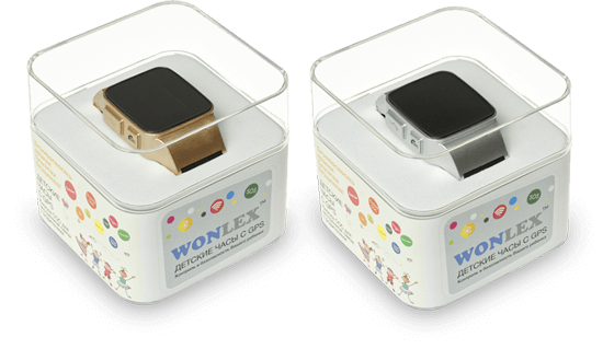 Розовые и серые часы Wonlex EW100 в упаковке