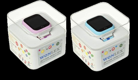 Розовые и голубые часы Wonlex Q100 в упаковке