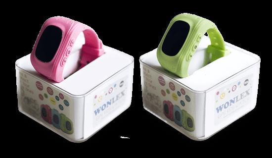 Розовые и зеленые часы Wonlex Q50 в упаковке